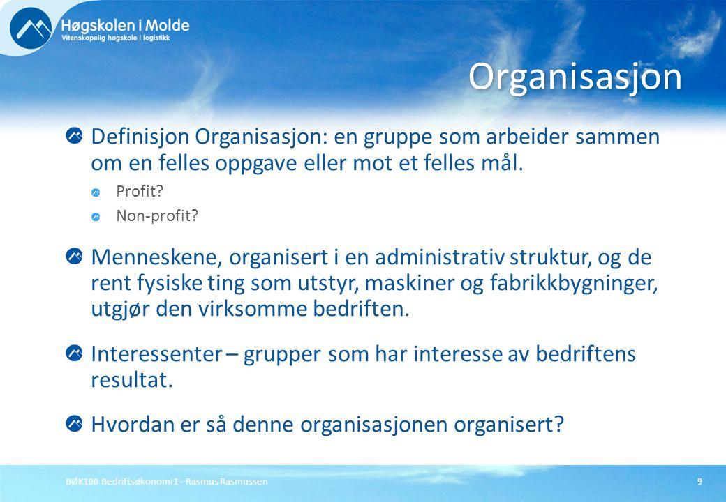 Organisasjon Definisjon Organisasjon: en gruppe som arbeider sammen om en felles oppgave eller mot et felles mål.