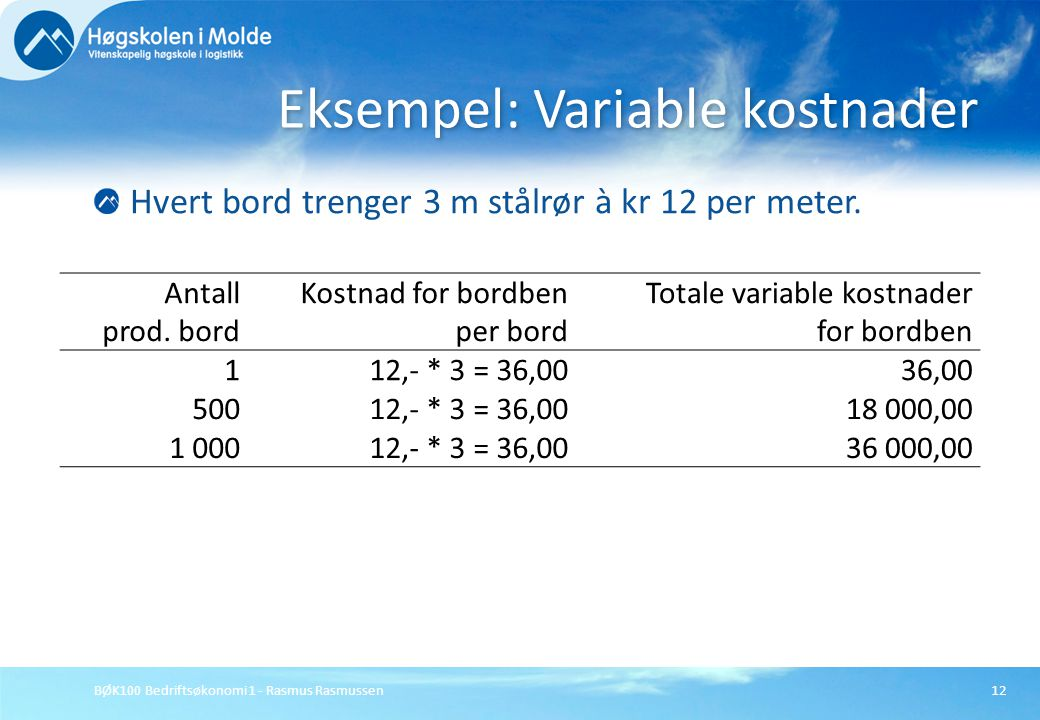 Eksempel: Variable kostnader
