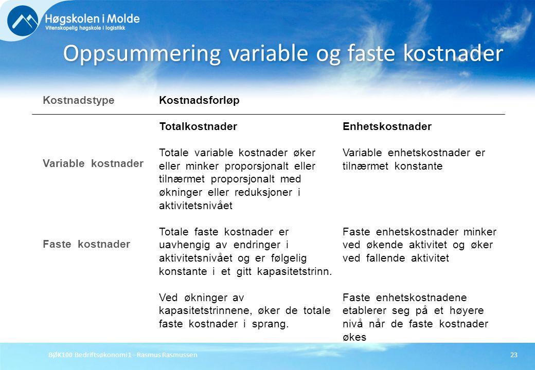 Oppsummering variable og faste kostnader