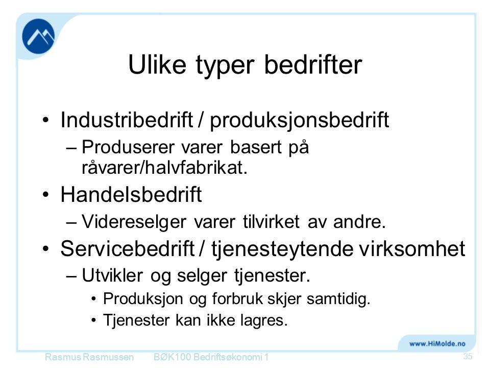 Ulike typer bedrifter Industribedrift / produksjonsbedrift