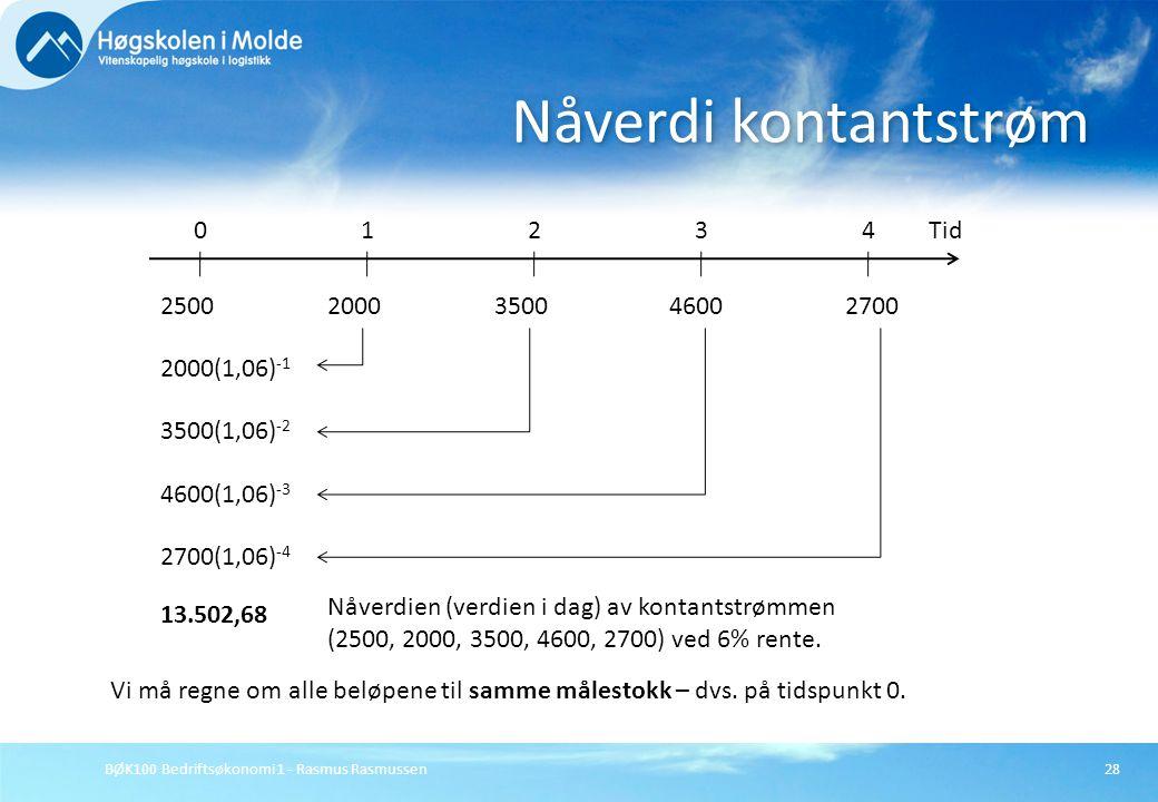 Nåverdi kontantstrøm 1 2 4 Tid 3 2500 2000 3500 4600 2700 2000(1,06)-1