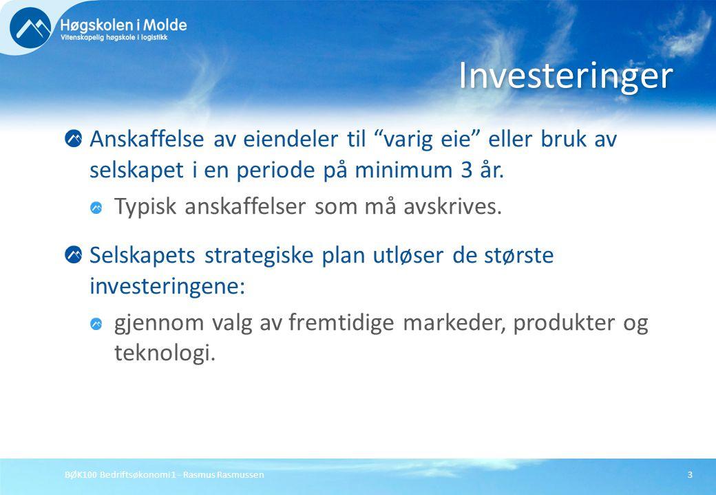 Investeringer Anskaffelse av eiendeler til varig eie eller bruk av selskapet i en periode på minimum 3 år.