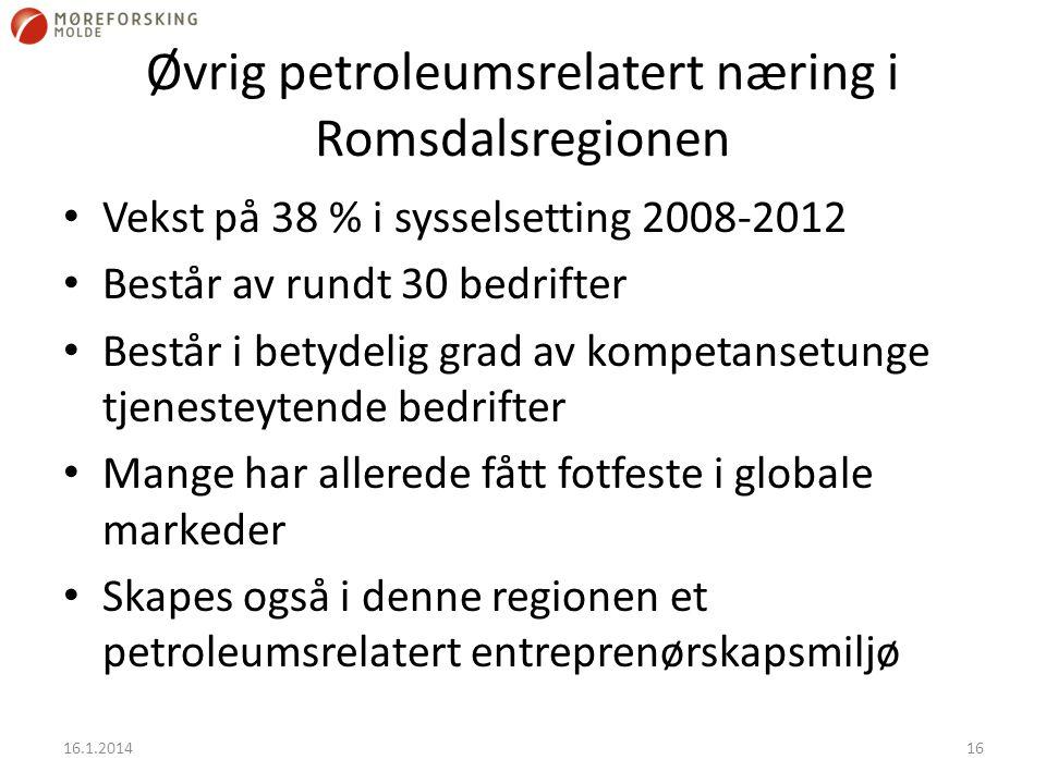 Øvrig petroleumsrelatert næring i Romsdalsregionen