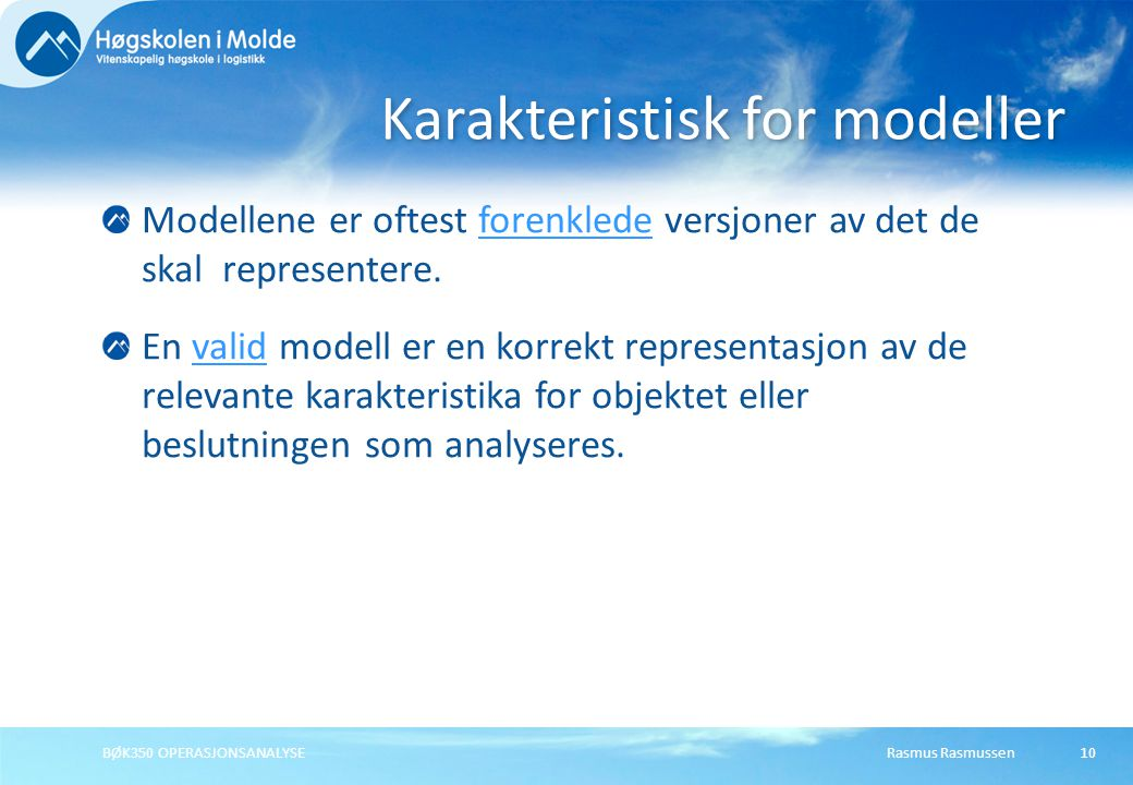 Karakteristisk for modeller