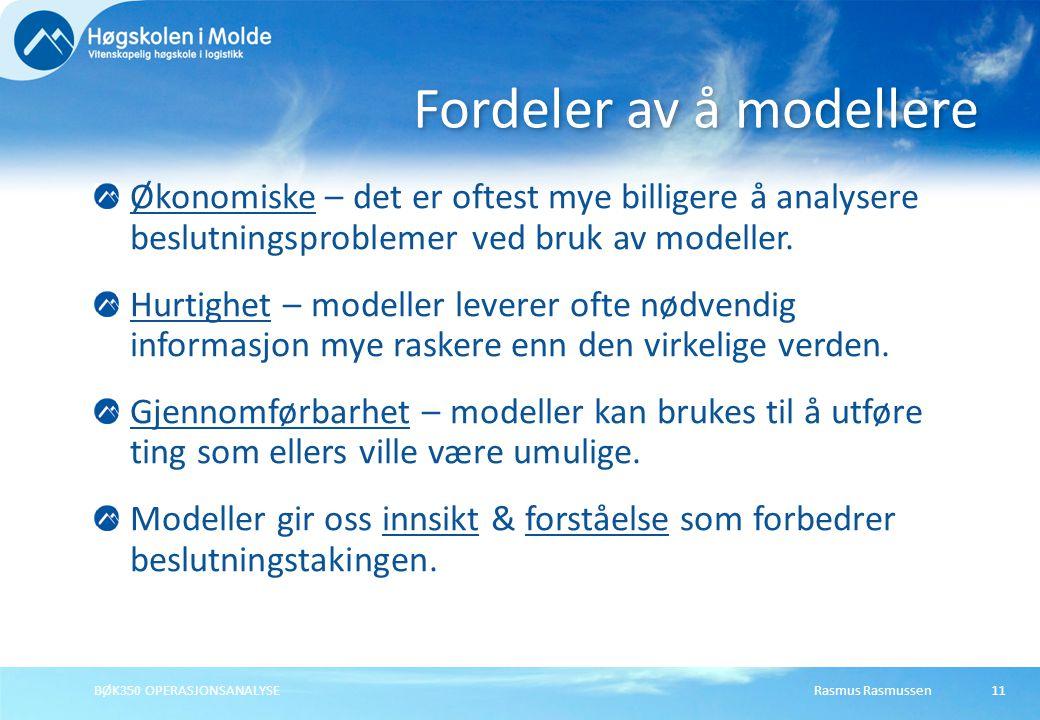 Fordeler av å modellere