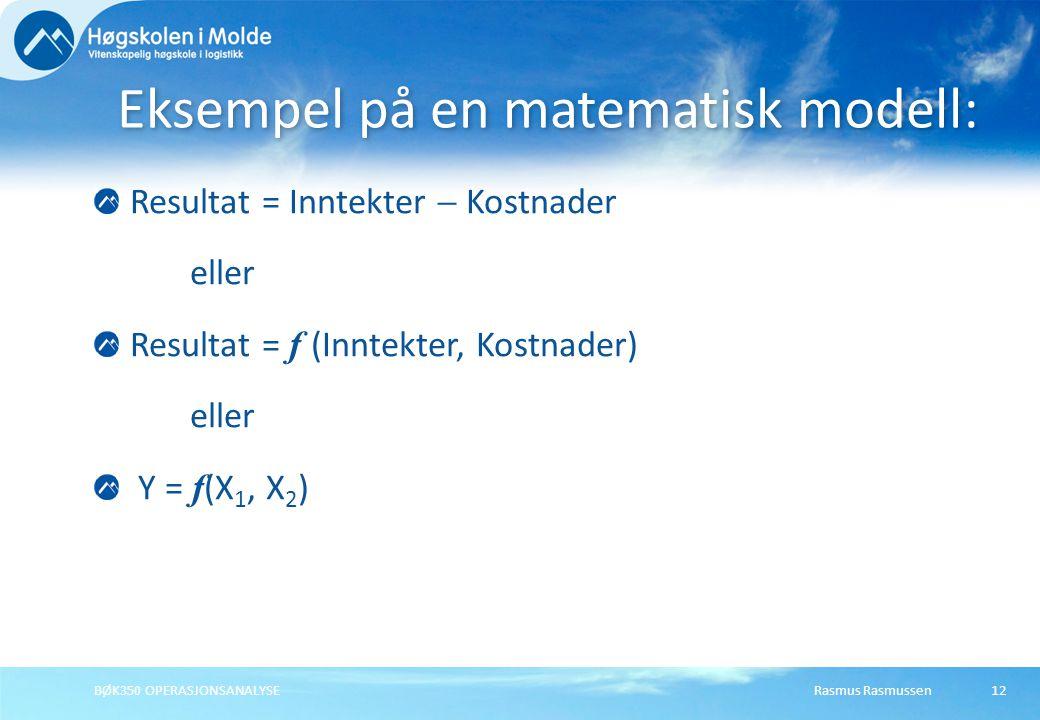 Eksempel på en matematisk modell: