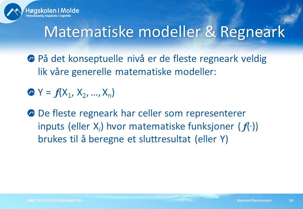 Matematiske modeller & Regneark