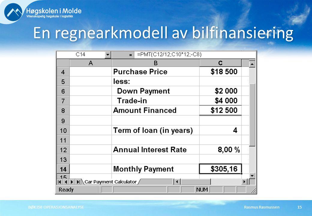 En regnearkmodell av bilfinansiering