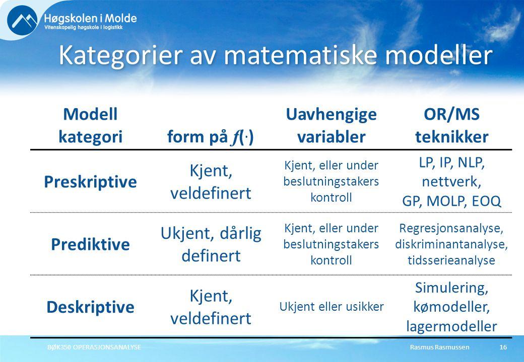 Kategorier av matematiske modeller