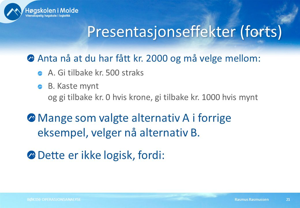 Presentasjonseffekter (forts)