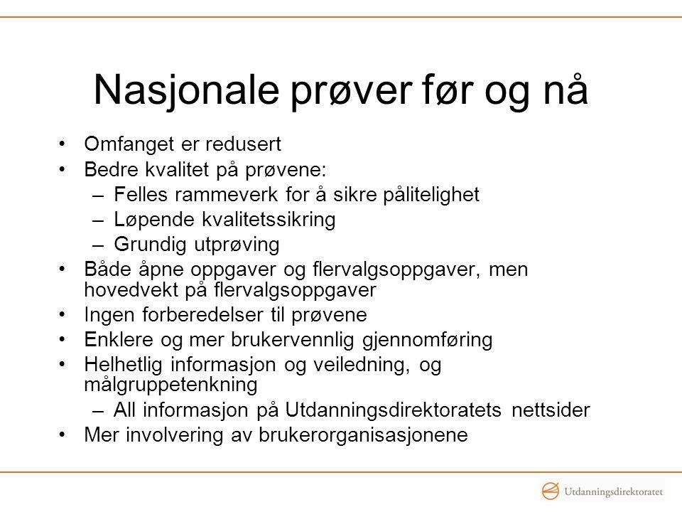 Nasjonale prøver før og nå