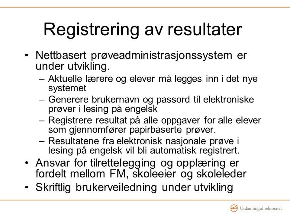 Registrering av resultater