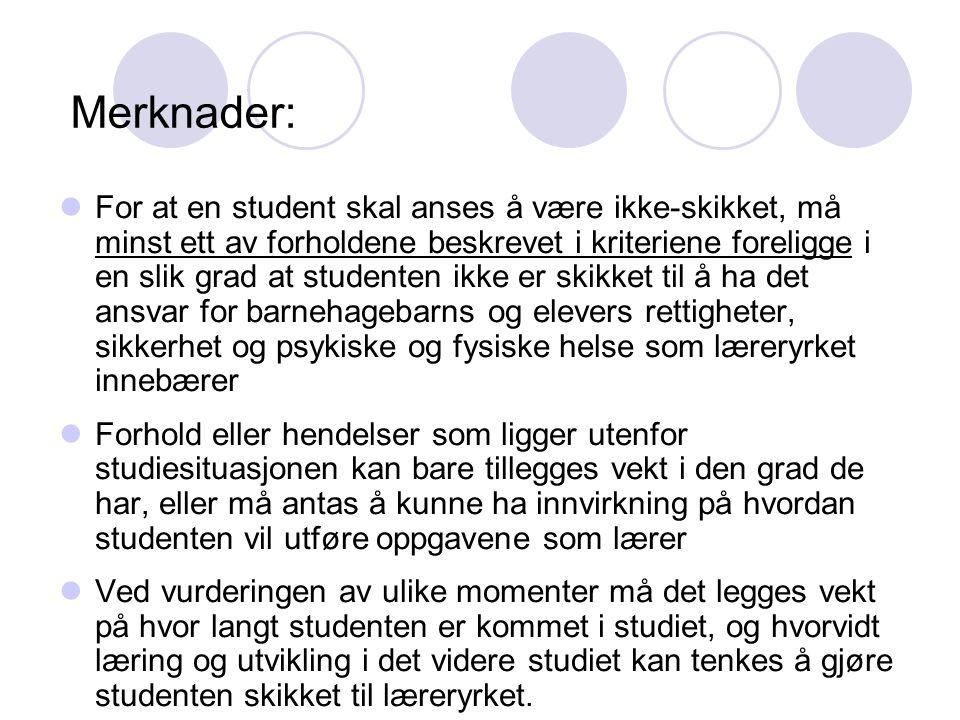 Merknader: