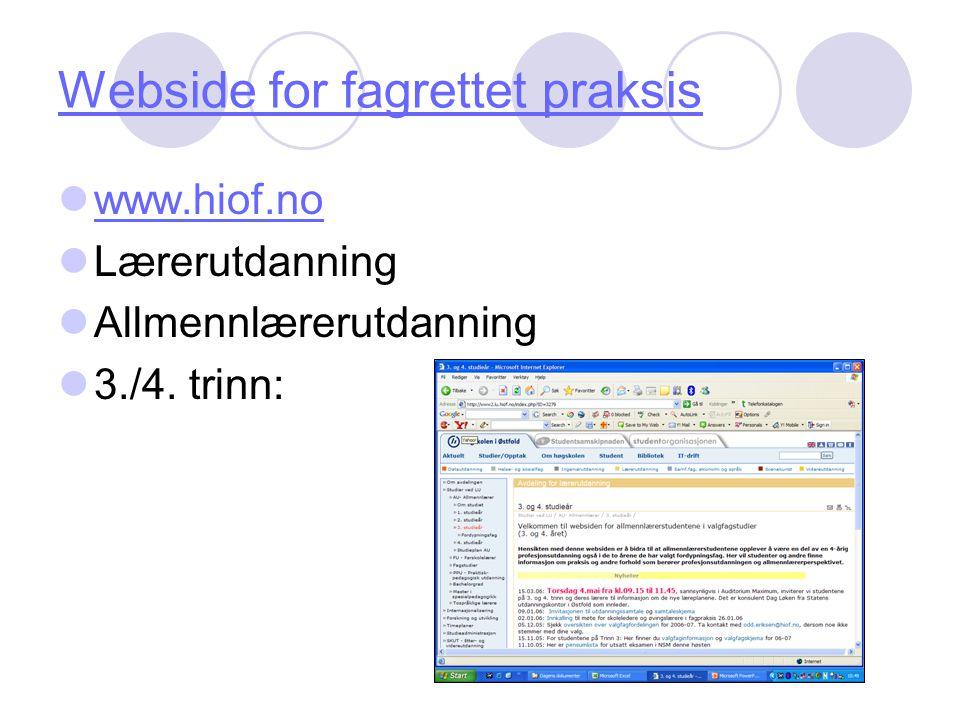 Webside for fagrettet praksis