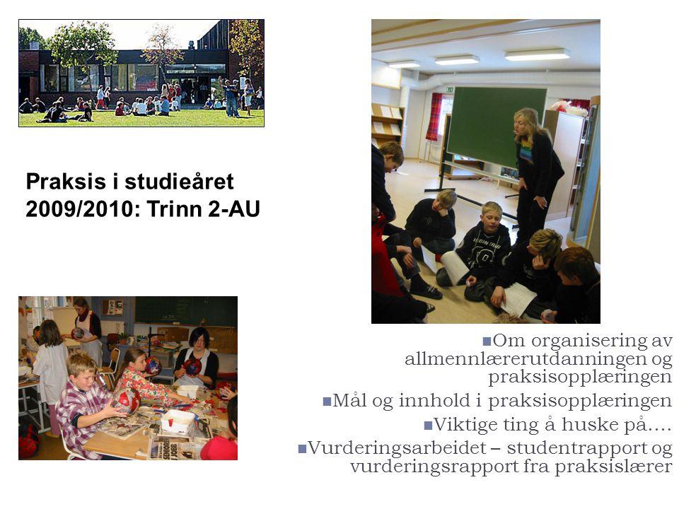 Praksis i studieåret 2009/2010: Trinn 2-AU