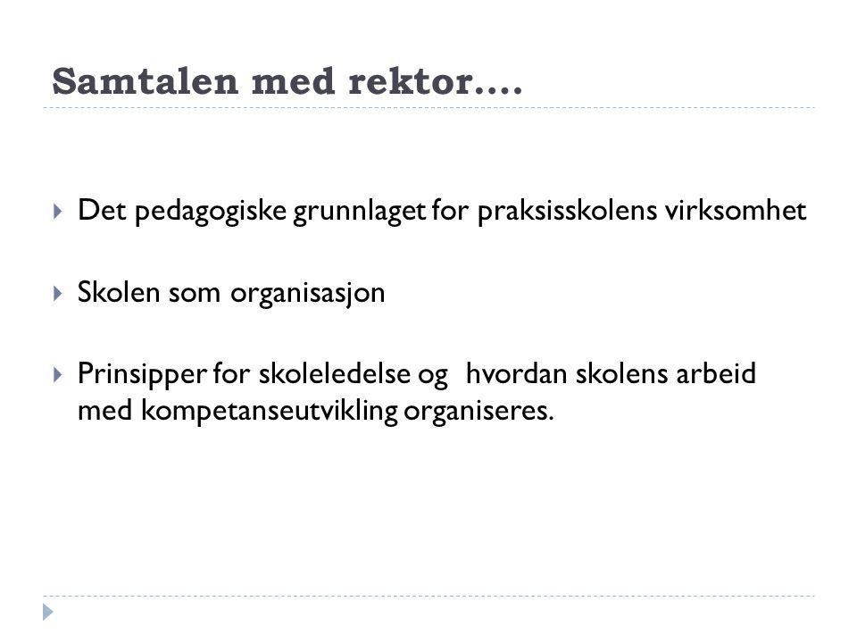 Samtalen med rektor…. Det pedagogiske grunnlaget for praksisskolens virksomhet. Skolen som organisasjon.