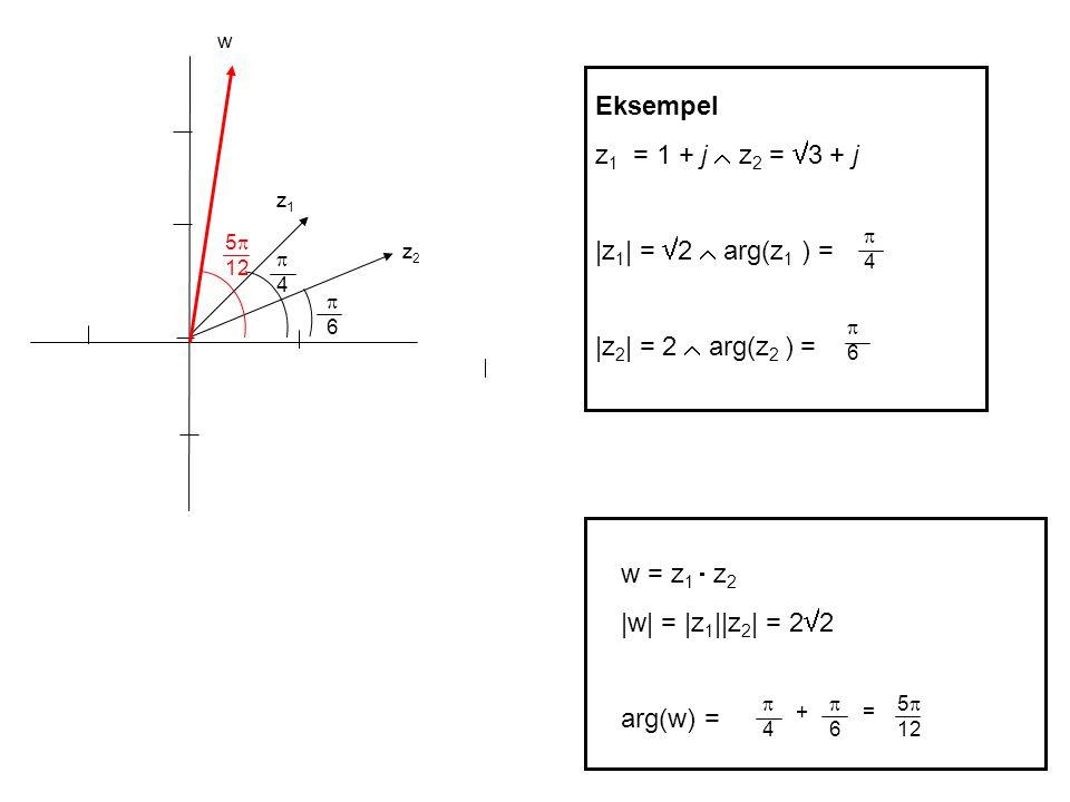 Eksempel z1 = 1 + j  z2 = 3 + j |z1| = 2  arg(z1 ) =
