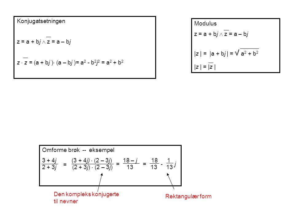 Konjugatsetningen z = a + bj  z = a – bj. z  z = (a + bj ) (a – bj )= a2 - b2j2 = a2 + b2. Modulus.