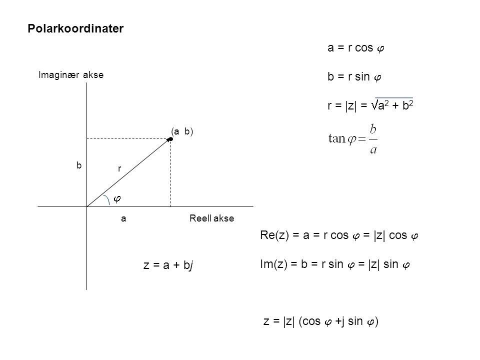 Re(z) = a = r cos  = |z| cos  Im(z) = b = r sin  = |z| sin 