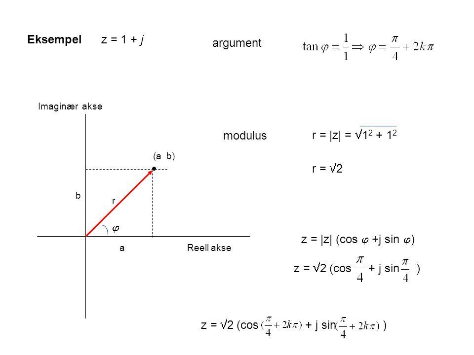 Eksempel z = 1 + j argument r = |z| = 12 + 12 modulus r = 2 