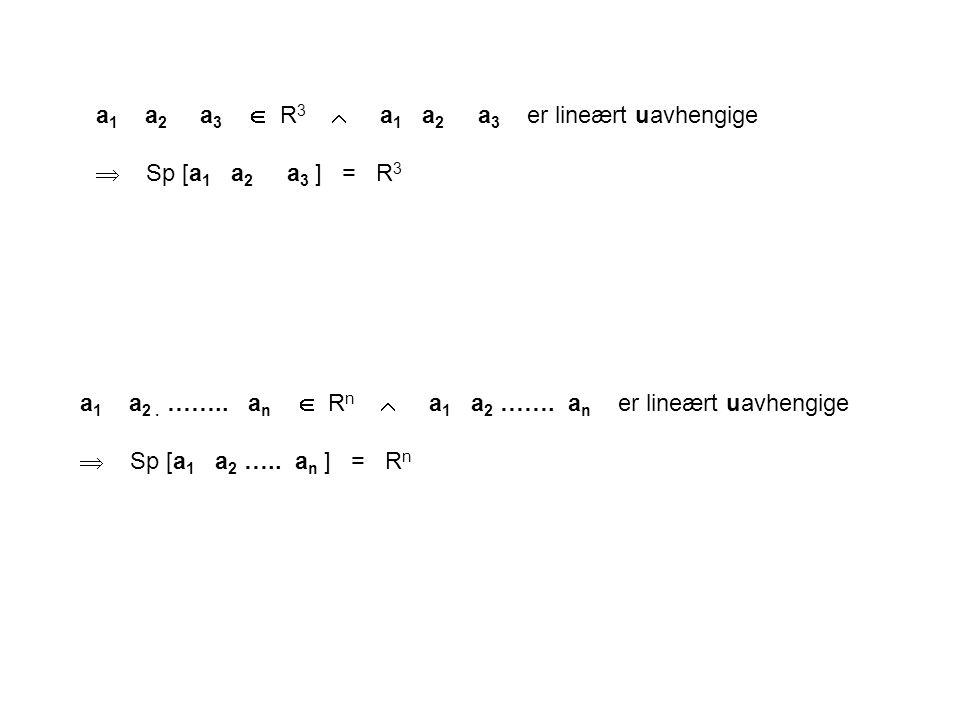 a1 a2 a3  R3  a1 a2 a3 er lineært uavhengige
