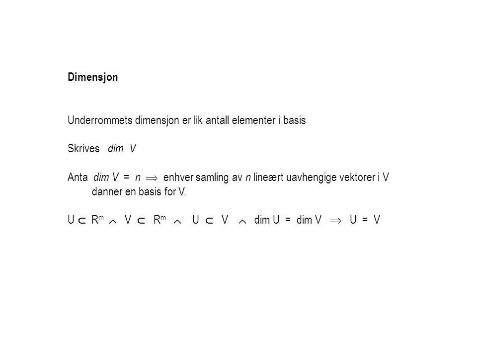 Dimensjon Underrommets dimensjon er lik antall elementer i basis. Skrives dim V.