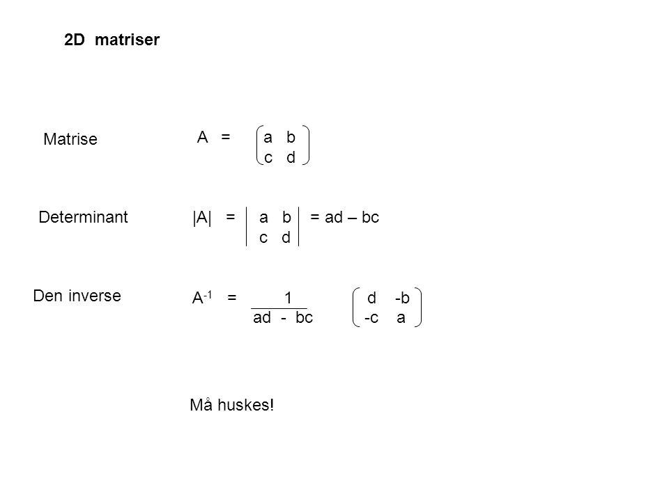 2D matriser A = a b c d. |A| = a b = ad – bc c d.