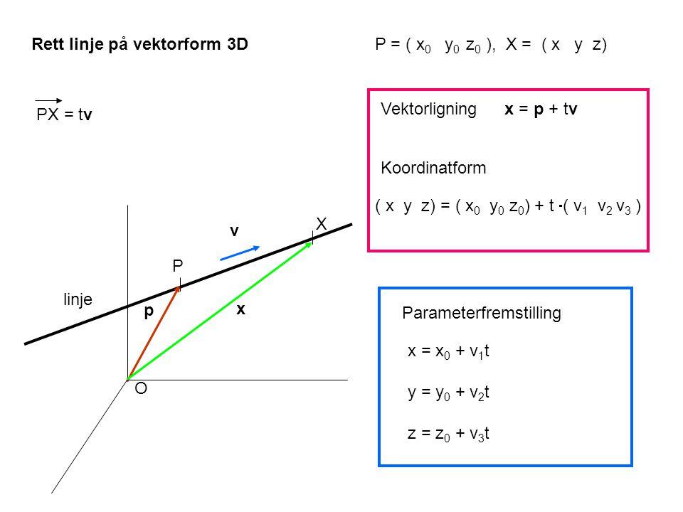 Rett linje på vektorform 3D