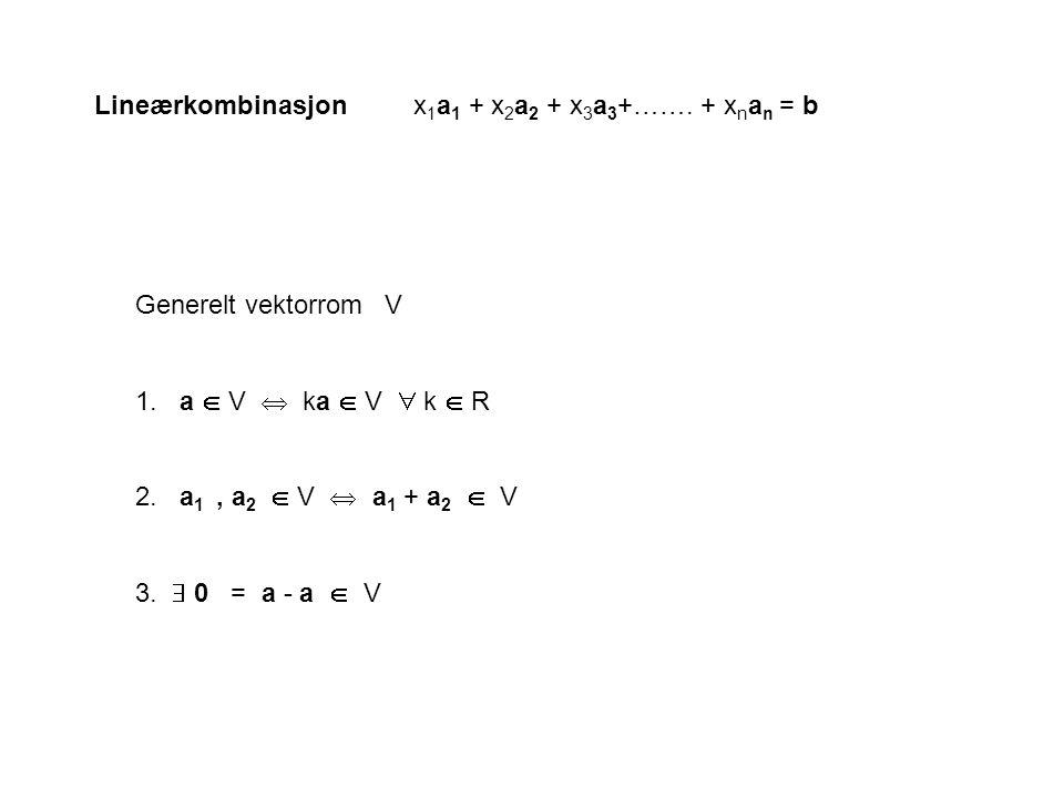 Lineærkombinasjon x1a1 + x2a2 + x3a3+……. + xnan = b