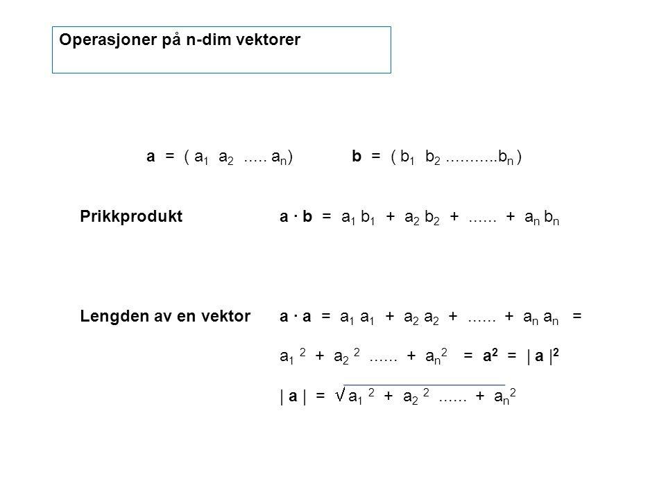 Operasjoner på n-dim vektorer