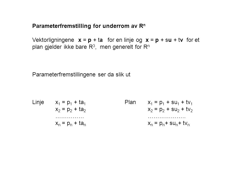 Parameterfremstilling for underrom av Rn