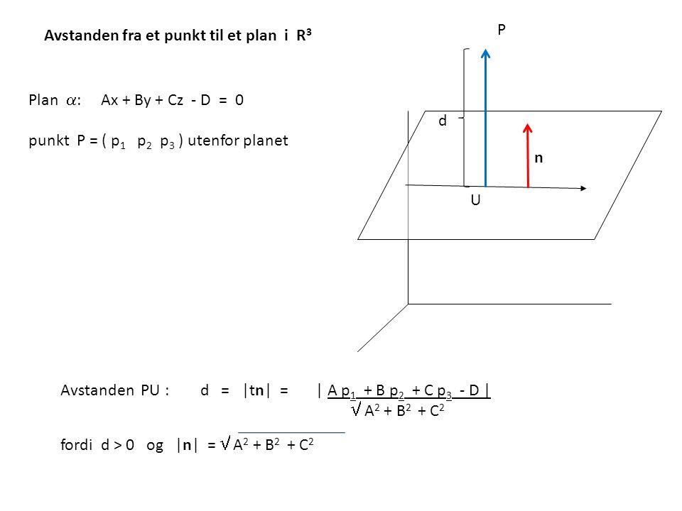 P Avstanden fra et punkt til et plan i R3. Plan : Ax + By + Cz - D = 0. punkt P = ( p1 p2 p3 ) utenfor planet.