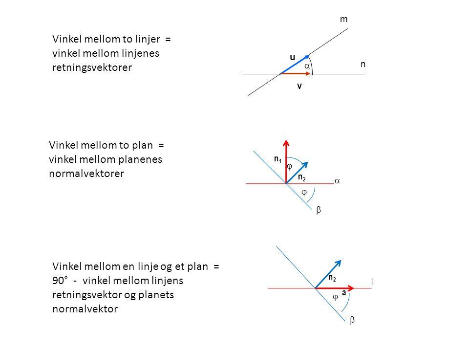 Vinkel mellom to linjer = vinkel mellom linjenes retningsvektorer
