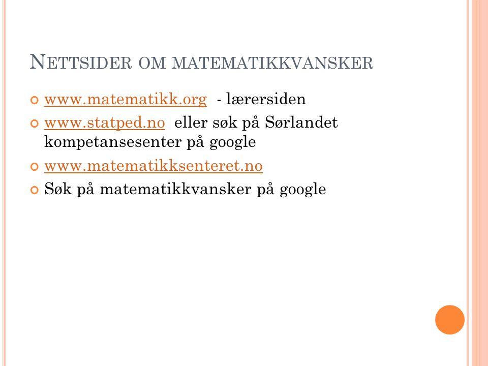 Nettsider om matematikkvansker