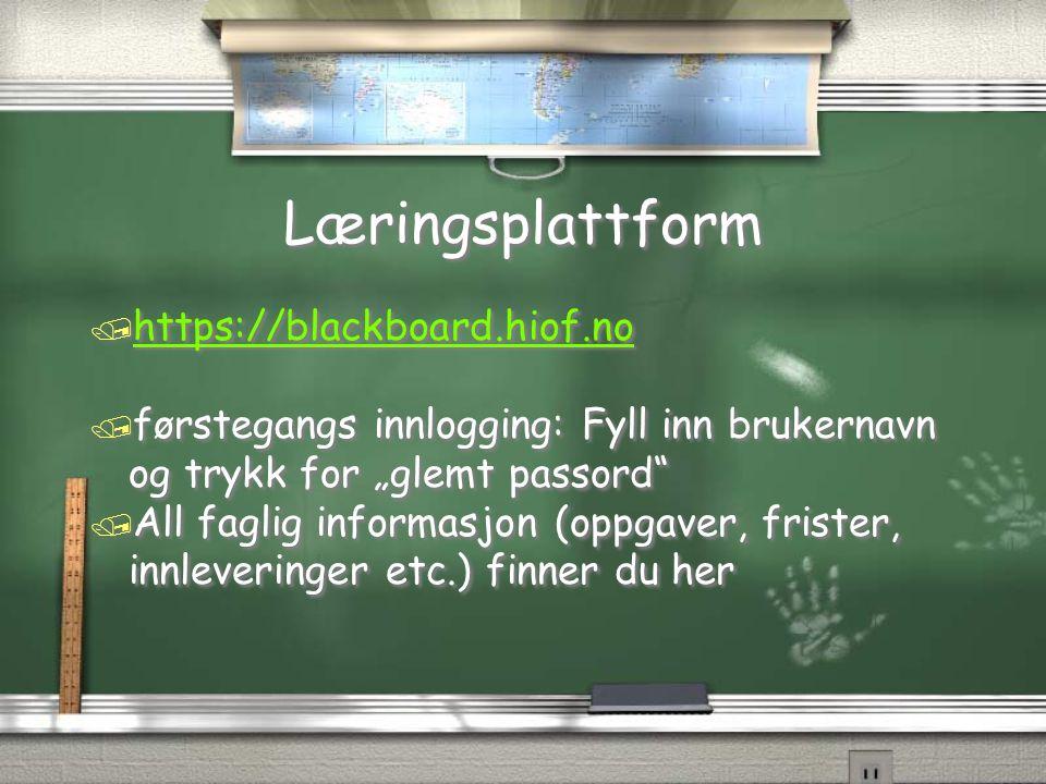 Læringsplattform https://blackboard.hiof.no