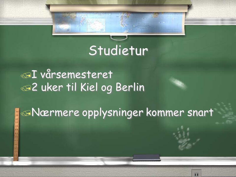 Studietur I vårsemesteret 2 uker til Kiel og Berlin