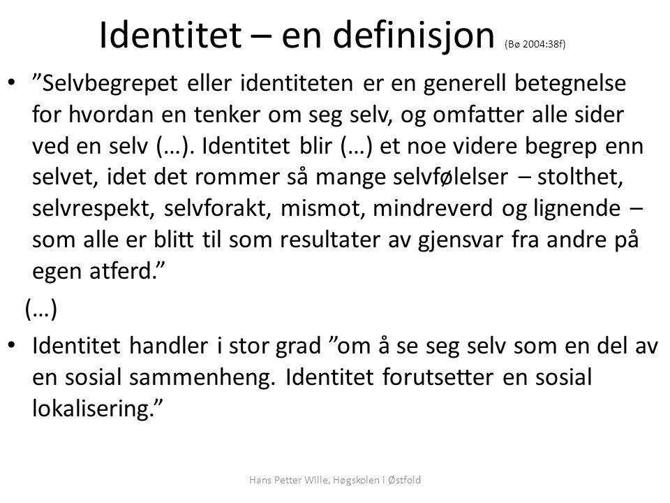 Identitet – en definisjon (Bø 2004:38f)