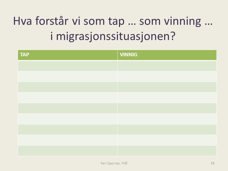 Hva forstår vi som tap … som vinning … i migrasjonssituasjonen