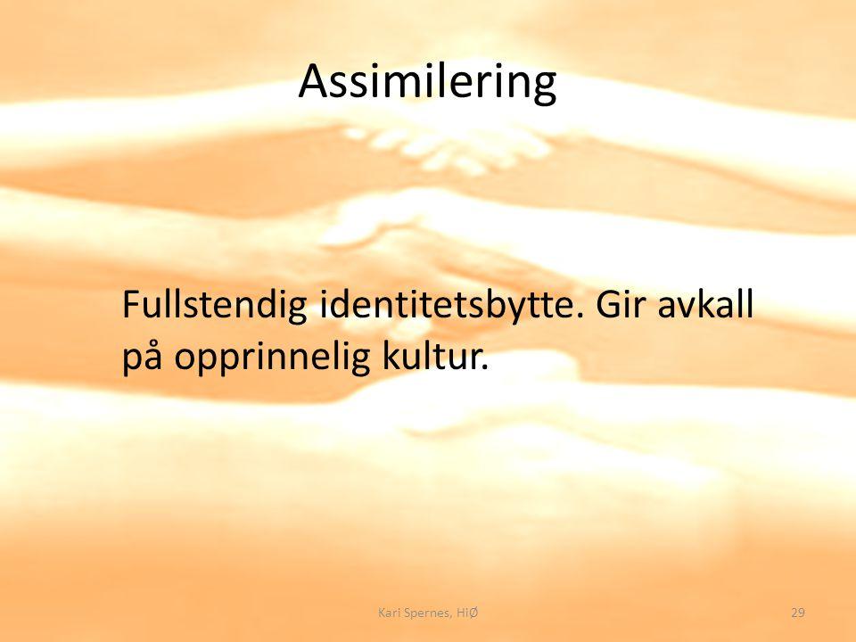 Assimilering Fullstendig identitetsbytte. Gir avkall på opprinnelig kultur. Kari Spernes, HiØ