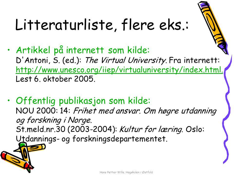Litteraturliste, flere eks.: