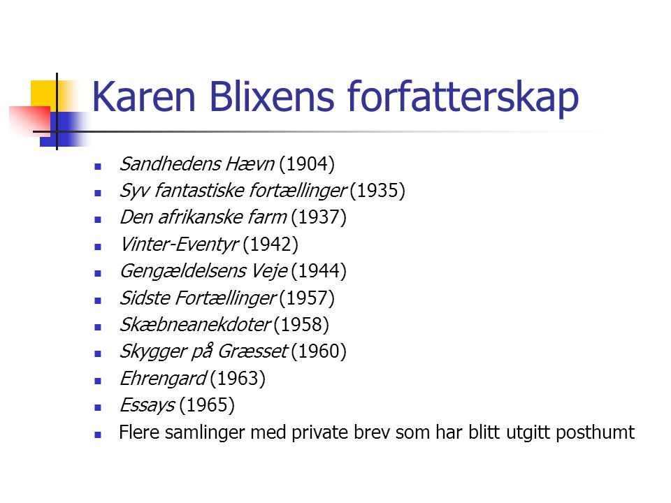 Karen Blixens forfatterskap