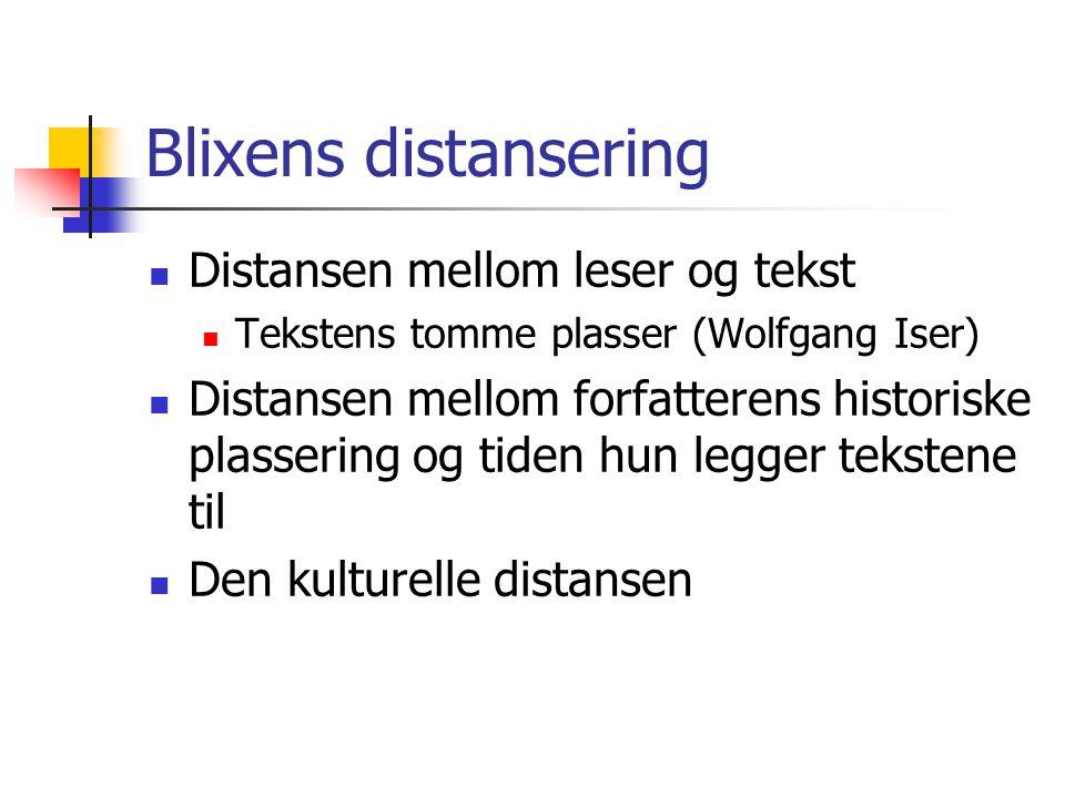 Blixens distansering Distansen mellom leser og tekst