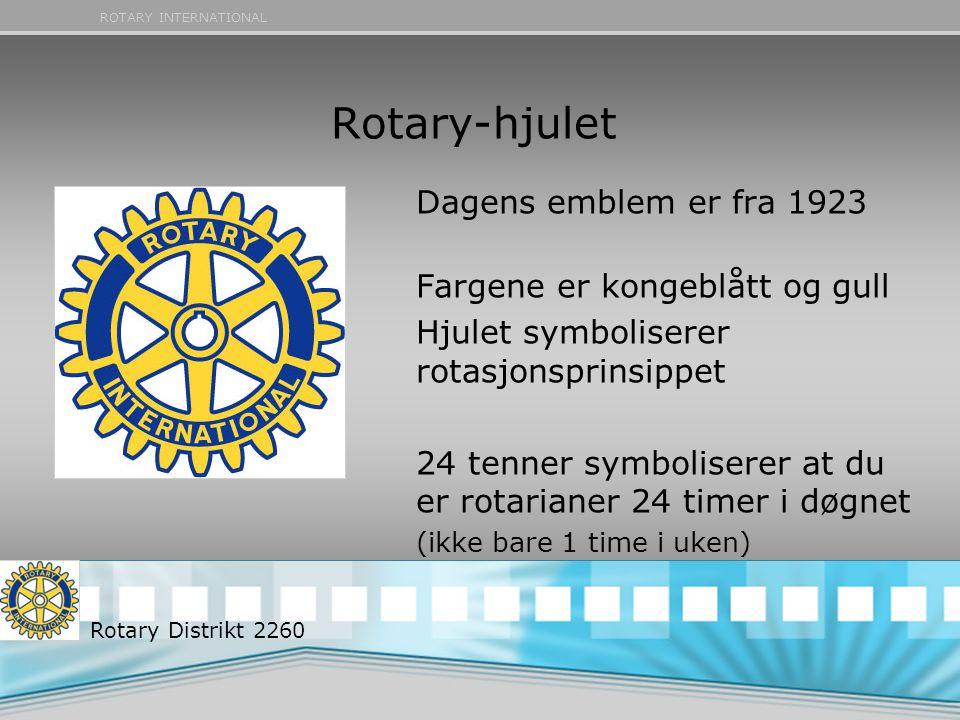 Rotary-hjulet Dagens emblem er fra 1923 Fargene er kongeblått og gull