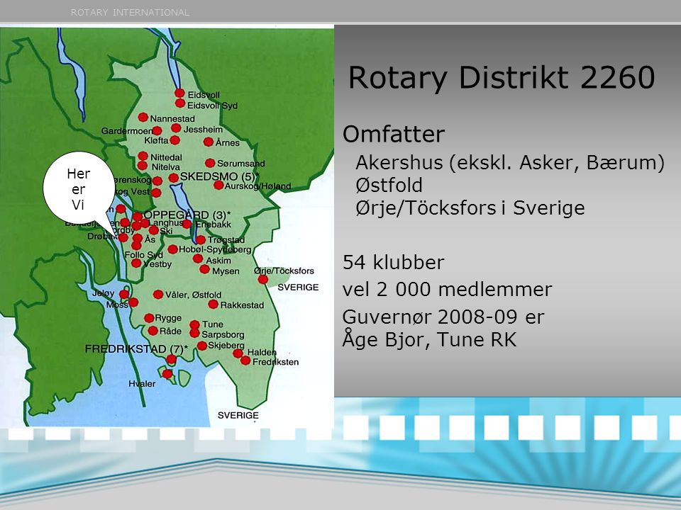 Rotary Distrikt 2260 Omfatter