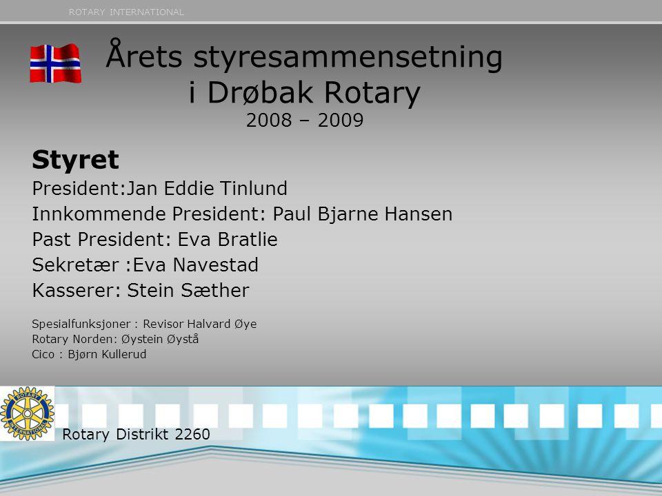 Årets styresammensetning i Drøbak Rotary 2008 – 2009