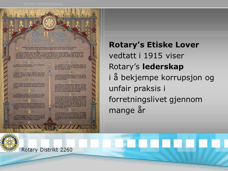 Rotary's Etiske Lover vedtatt i 1915 viser