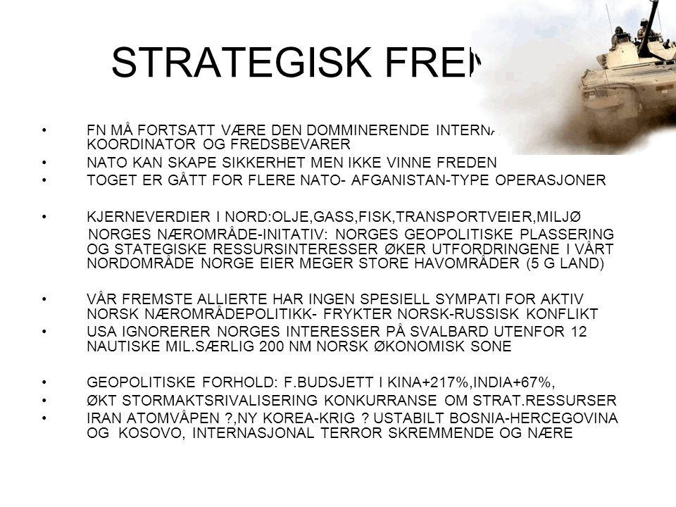 STRATEGISK FREMTID FN MÅ FORTSATT VÆRE DEN DOMMINERENDE INTERNASJONALE KOORDINATOR OG FREDSBEVARER.
