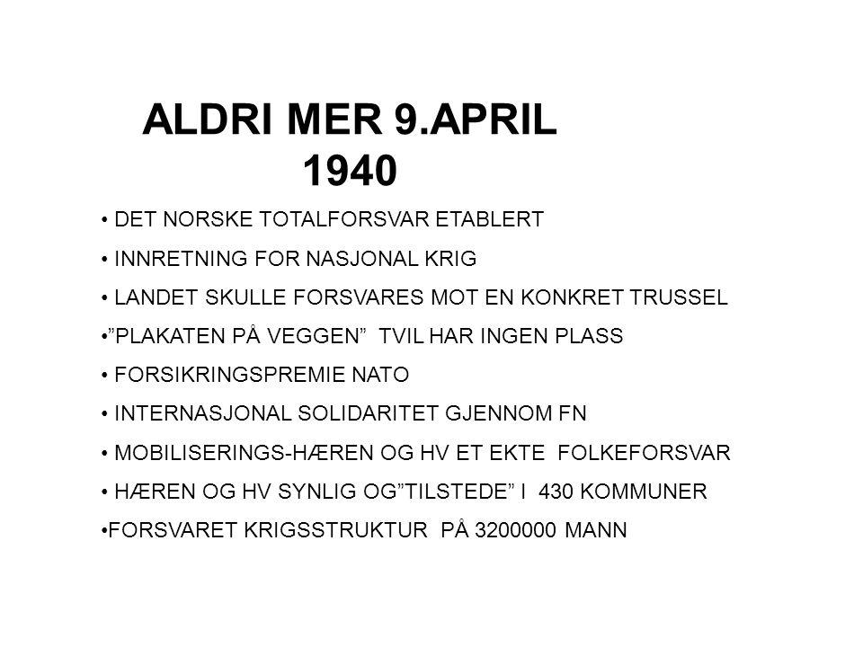 ALDRI MER 9.APRIL 1940 DET NORSKE TOTALFORSVAR ETABLERT