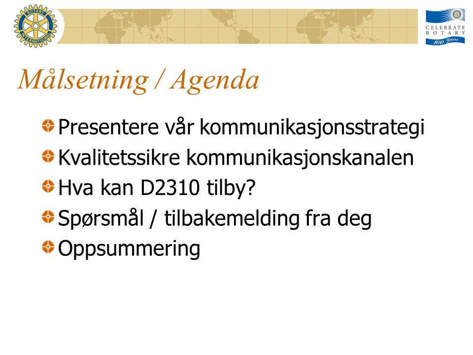 Målsetning / Agenda Presentere vår kommunikasjonsstrategi