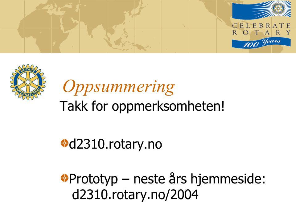 Oppsummering Takk for oppmerksomheten! d2310.rotary.no